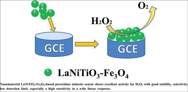 Nanomaterial LaNiTiO<sub>3</sub>-Fe<sub>3</sub>O<sub>4</sub>-based Peroxidase Biomimetic Sensor with High Sensitivity