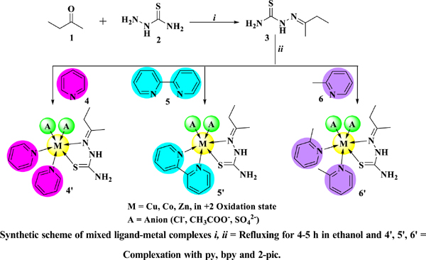 Mixed Ligand-metal Complexes of 2-(butan-2-ylidene) Hydrazinecarbothioamide- Synthesis, Characterization, Computer-Aided Drug Character Evaluation and in vitro Biological Activity Assessment