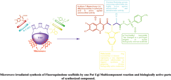 Microwave Induced One Pot Ugi Multicomponent Reaction of Fluoroquino Lone Scaffolds: Their Biological Evaluation