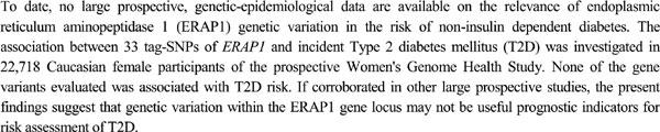 Gene Variation of Endoplasmic Reticulum Aminopeptidase 1 and Risk of Incident Type 2 Diabetes Mellitus amongst 22,718 Initially Healthy Women