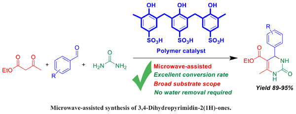 Microwave-assisted Synthesis of 3,4-Dihydropyrimidin-2(1H)-ones Using Acid-Functionalized Mesoporous Polymer