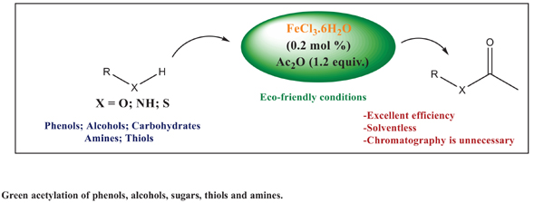 Iron (III) Chloride Hexahydrate as a Highly Efficient Catalyst for Acetylation of Protic Nucleophiles with Acetic Anhydride under Solvent-free Conditions