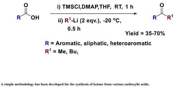 One Pot Conversion of Carboxylic Acid to Ketone Using Trimethylsilyl Chloride