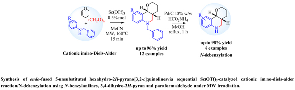 Synthesis of endo-fused 5-unsubstituted Hexahydro-2H-pyrano[3,2-c]quinolinesvia Sequential Sc(OTf)<sub>3</sub>-catalyzed Cationic Imino-Diels-Alder Reaction/N-debenzylation using N-benzylanilines, 3,4-dihydro-2H-pyran and Paraformaldehyde under MW Irradiation