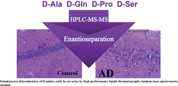 Simultaneous Determination of D-amino Acids in Rat Urine by Highperformance Liquid Chromatography-tandem Mass Spectrometry Method: Application to Investigate the Clinical Value of D-amino Acids in the Early Diagnosis of Alzheimer's Disease